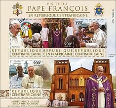 Stamp: Visit of Pope Francis to the Central African Republic (Central African Republic) (Visit of Pope Francis to the Central African Republic) Mi:CF 5935-5938KB