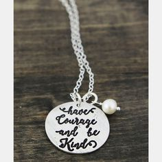 """This lovely faith-based necklace is hand molded in fine pewter and hand-stamped with the words """"Have Courage and Be Kind"""". Accented with a freshwater pearl. Pearl Necklace Vintage, Vintage Pearls, Copper Jewelry, Jewelry Art, Jewelry Ideas, Unique Jewelry, Graduation Jewelry, Have Courage And Be Kind, Hand Molding"""