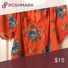 blouse orange, floral, chiffon, short sleeved Hollister Tops Blouses