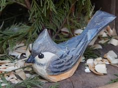 Hand Carved Windowsill Bird Titmouse by OldeWorldCarvings on Etsy Wood Sculpture, Sculptures, Hand Carved, Hand Painted, Bird Ornaments, Backyard Birds, Window Sill, Blue Ridge, Wood Carving