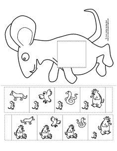 Logische volgorde verhaal De Gruffalo (knip het vierkant uit de muis en schuif daar de vertelstrook door)