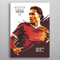 """Beautiful """"virgil van dijk"""" metal poster created by Em sandia. Our Displate metal prints will make your walls awesome. Liverpool Football Club, Liverpool Fc, Virgil Van Dijk, Pop Art Portraits, Pinterest Photos, Poster Making, New Artists, Poster Prints, Posters"""