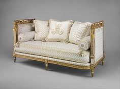 Daybed (Lit De Repos), Jean-Baptiste-Claude Sené, Painted and gilded by Louis-François Chatard, 1788, French, carved, painted and gilded walnut with modern off-white cotton twill embroidered in silk. From the Cabinet de Toilette, Palace of Saint-Cloud, France of Marie Antoinette.