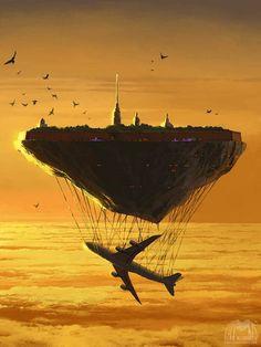 ilustraciones surrealistas ciudad flotante avion 450x600 Ilustraciones surrealistas por Alex Andreev