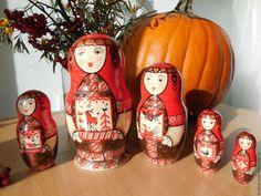 Buy Matryoshka five-seat 18 cm . Mezen beauty. - bright red, dolls, matryoshka