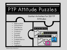 PYP Attitude Puzzles and Cards to help your PYP students better understand and remember the PYP Attitudes.  $  #PYP #IB #Attitudes