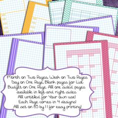 A5 Graph Filofax Planner Pages Printable