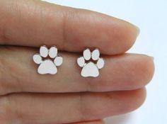 925er Sterling Silber & Gold Hundepfote Ohrringe