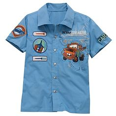 Deffinatly getting for Christmas! Toddler Boy Outfits, Kids Outfits, Tow Mater, Weaving For Kids, Disney Boys, Disney Merchandise, Disney Outfits, Boys Shirts, Casual Shirts