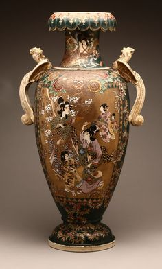 A large Japanese Satsuma porcelain vase, Probably late 19th / early 20th century, the circular rim with curled lappet edge over a tapering neck and baluster body with cockerel-form handles