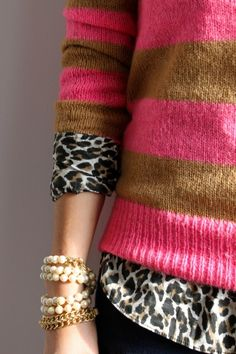 Not sure I could ever wear anything this preppy but I like the combination of stripes, animal print, and pearls
