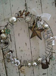 bent wire hanger, slinky, ornaments...awsome!!!