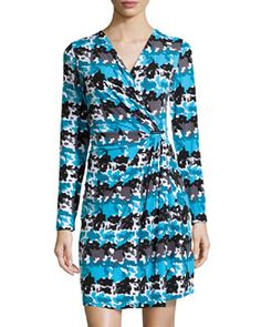 887e5e199e25 T8QQQ MICHAEL Michael Kors Long-Sleeve Camo-Print Stretch-Knit Wrap Dress