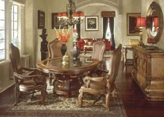round tuscany dining room furniture   ... Tuscano Biscotti Finish Traditional Round Dining Table Set by AICO