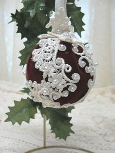 Handmade Christmas ornament. Burgundy velvet, shiny white pearls, venice lace. Follow the link to see more pictures.