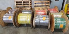 Neatly wrapped reels of 350MCM THHN.  No one does it with the care and attention to detail quite like Ace!  #acewire #ace #reels #wire #cable