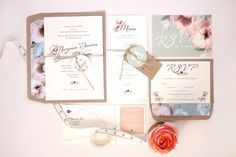 Justmytype.co.nz - beautiful vintage blush and mint wedding invitations