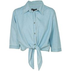 Light Blue Tie Front Cropped Denim Shirt (29 BRL) ❤ liked on Polyvore featuring tops, shirts, crop tops, blusas, denim crop top, crop shirts, denim tie front shirt, blue crop top and light blue crop top