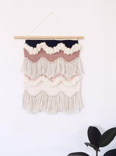 Woven Wall Hanging: Boho Tapestry, Scallop Waves Weaving by HelloWeavers on Etsy https://www.etsy.com/listing/536305135/woven-wall-hanging-boho-tapestry-scallop