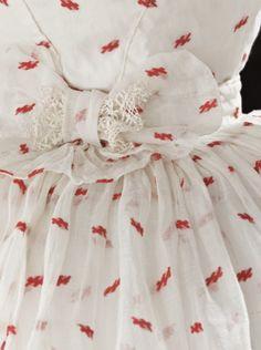 c.1875 Woman's Polonaise Dress - cotton plain weave w/wool supplemental weft, machine lace