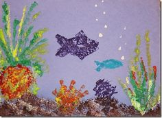 Create a Great Barrier Reef sponge painting.