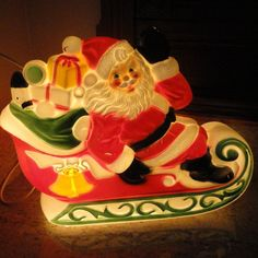 Empire Plastic Blow Mold Santa in Sleigh. These vintage blow molds are incredible ✳⊱