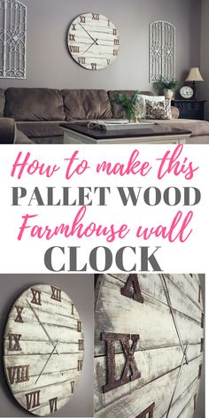 Check out how I made my DIY Oversized Farmhouse Clock out of reclaimed pallet wood, this gorgeous clock is 3.5 feet x 3.5 feet and it fit my huge living room wall perfectly! You'll want to make one of these for your house!