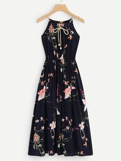 Shop Floral Print Self Tie Neck Cami Dress at ROMWE, discover more fashion styles online. Girls Fashion Clothes, Teen Fashion Outfits, Curvy Outfits, Modern Outfits, Stylish Dresses, Look Fashion, Trendy Outfits, Casual Dresses, Girl Fashion