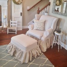 Gallery of Custom Slipcovers and draperies by Annie Palmer McCreary of My Swallow's Nest. Furniture Fix, Furniture Covers, Furniture Design, Furniture Ideas, Home Decor Colors, Colorful Decor, Dining Chair Covers, Dining Chairs, Cute Living Room