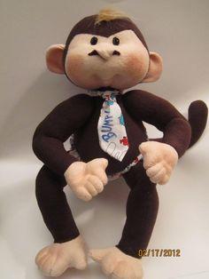Soft Cloth Monkey, Handmade Monkey Doll, Dinky Baby. #toys #dolls