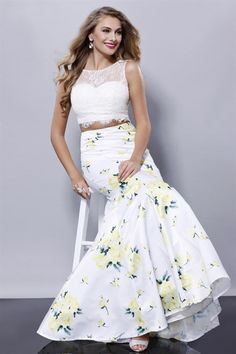 White/Yellow Lace Two Piece Mermaid Prom Dress