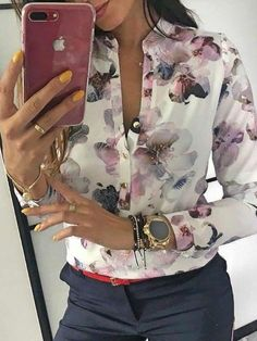 Spring Elegant Casual Blouse Floral Print Button Design, Long Sleeve Shirt for Woman Floral Blouse, Printed Blouse, Women Sleeve, Basic Tops, Blouse Styles, Look Fashion, Jeans Fashion, Ladies Fashion, Trendy Fashion