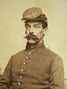 CDV Civil War Union Soldier 3rd Massachustts Heavy Artillery Backmark . Great Mustasche !