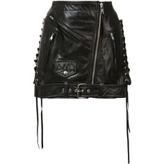 Adaptation classic moto skirt (2,553 CAD) ❤ liked on Polyvore featuring skirts, black, real leather skirt, leather skirts, knee length leather skirt and genuine leather skirt