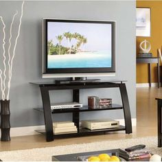 """BOUGHT American Furniture Warehouse 40"""" TV Stand Black Glossy Back  $89.00 24""""h x 40""""w x 20""""d"""