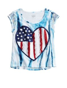 Sequin Sleeve Heart Flag Tee   Girls Short Sleeve Tops & Tees   Shop Justice