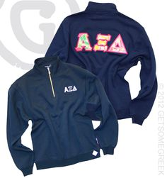 sorority sugar GSG sponsor LUV ❤ ~ ALPHA XI DELTA HOPE QUARTER ZIP WITH LILLY SEWN ON LETTERS ON THE BACK!!
