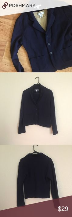 CAbi Navy Blue Cozy Cardigan/Blazer EUC CAbi Blazer/Cardigan. Nice heavy material baggy enough to wear over a nice blouse. Dress it up for the office or throw it on with a pair of pj pants to stay warm around the house. Super comfy and cute.             ⭐️Sorry I don't do any trades.  ⭐️ I'm always open to reasonable offers.  ⭐️ Bundle 2 or more items to save CAbi Sweaters Cardigans