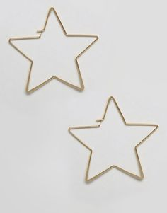 Orelia Star Shape Hoop Earrings - Gold