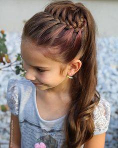 Geflochtene Frisuren - 🌸Today I finally tried the Half Starburst Braided Ponytail style inspired by . Princess Hairstyles, Flower Girl Hairstyles, Little Girl Hairstyles, Braided Hairstyles, Cool Hairstyles, Hairstyles For Children, Indian Hairstyles, Summer Hairstyles, Ponytail Styles