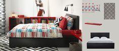 MALM cadre de lit avec rangements, brun-noir, et LAPPLJUNG RAND housse de couette et taies multicolores