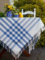 These classic textiles bring to mind simple pleasures and old-time back yard life we can't help but love—families gathered for Sunday dinner and apple pie for desert! So go ahead and pack up the picnic basket for a day in the park because we have just what you need for a summer to remember. Yarn dyed, gingham cotton in your choice of a cheerful red and white weave or blue and white weave. 60x90