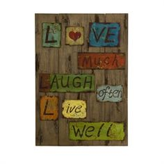 Rustic Weathered Plank Love Laugh Live Wall Decor Panel