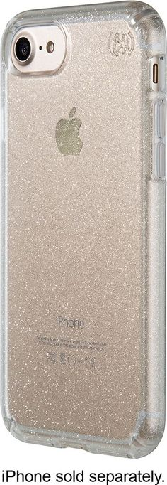 Speck - Presidio clear + glitter Case for Apple® iPhone® 7 - Clear/Clear with gold glitter