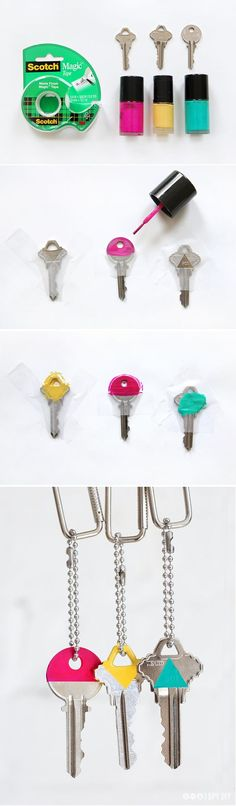 Differentiate your keys by painting the tops of your kets with different color nail polish so you know exactly which ones goes to what! Check out the 30 Life Hacks All College Students NEED to Know for more ideas! life hacks for school Life Hacks Diy, Useful Life Hacks, Diy Hacks, Life Hacks For School, Diy Organizer, Diy Organization, Organizing, Stationary Organization, Ideias Diy