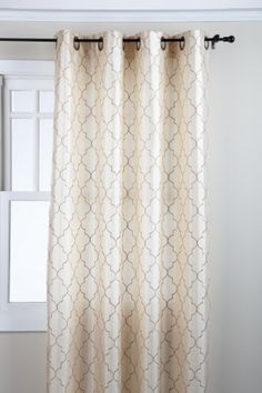 Amazon.com - Stylemaster Hudson 55 by 84-Inch Embroidered Faux Silk Grommet Panel, Vanilla - Window Treatment Panels