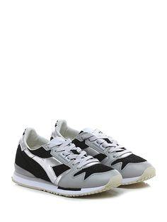 DIADORA Heritage - Sneakers - Donna - Sneaker in pelle e camoscio glitterato con suola in gomma, tacco 25, platform 15 con battuta 10. - BLACK\PERLA - € 180.00