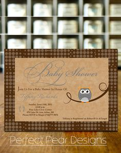 93 best perfect owl theme baby shower images on pinterest baby baby shower invitation vintage owl brown by perfectpeardesigns 1300 filmwisefo