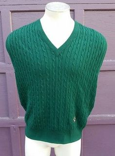 Men's Woods & Irons Royal Golf Course Green Wool Vest Made in Italy FANCY XL