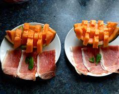 Heerlijk meloen met ham. En op een leuke manier gepresenteerd !!